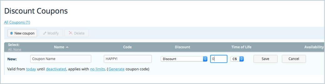 Ecwid e commerce widgets ecwid 101 how to create an online store you may choose the number of uses for your offer unlimited once per customer or single use you may also choose to limit the use of your coupon code by fandeluxe Image collections