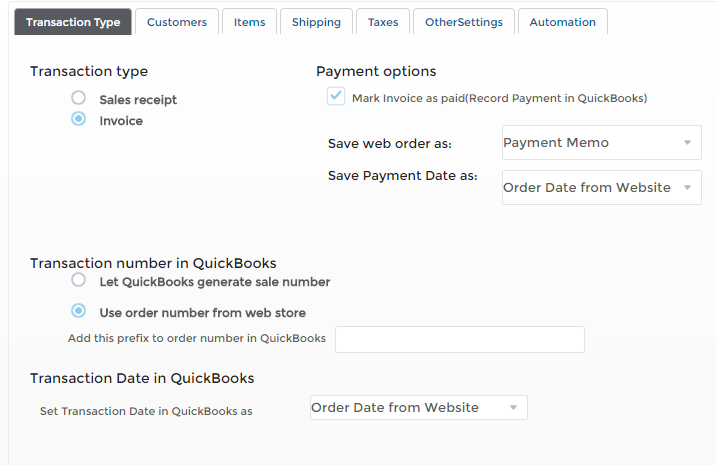 Settings page in T-Hub for exporting orders to Quickbooks