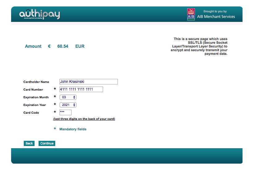 Payment processing via AuthiPay