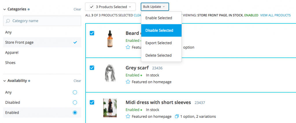 Bulk product update in Ecwid