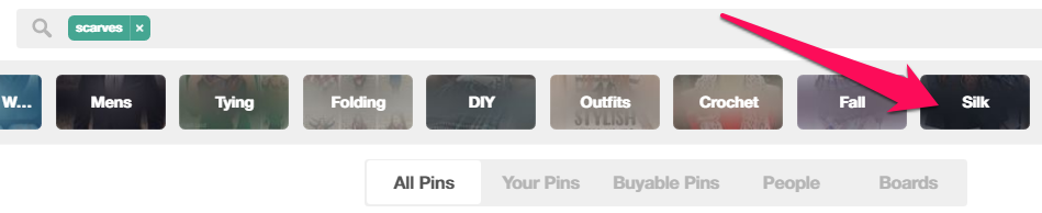 """Guided Search"" buttons at the top of Pinterest"