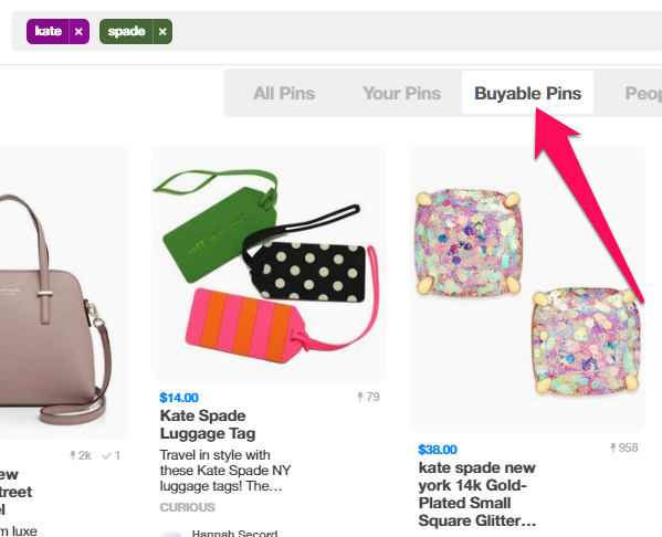 """Buyable Pins"" from the top menu on Pinterest"