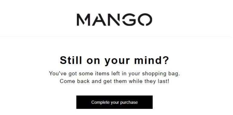 Abandoned cart email mango