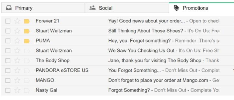 Abandonné panier email aperçu