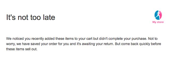 échantillon panier email abandonné