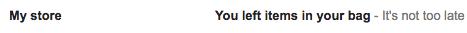 Abandonné panier email ligne de sujet