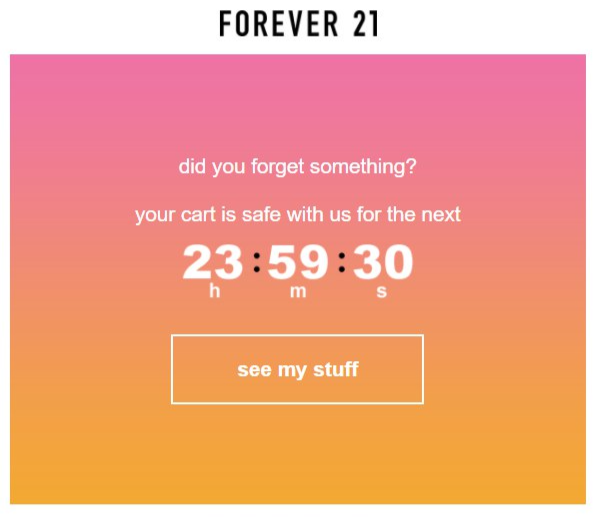 Abandoned cart email template forever 21