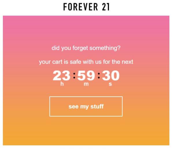 modèle de panier email abandonné pour toujours 21