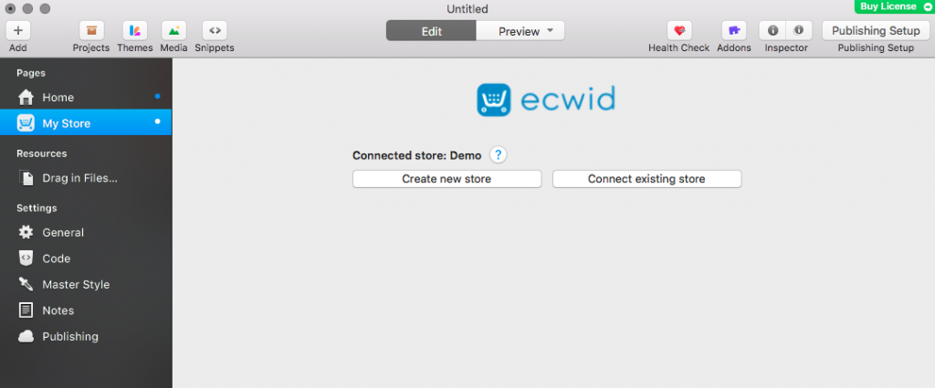 Adding Ecwid to RapidWeaver