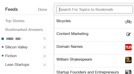 Bookmarking topics
