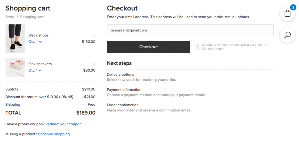 New checkout in Ecwid