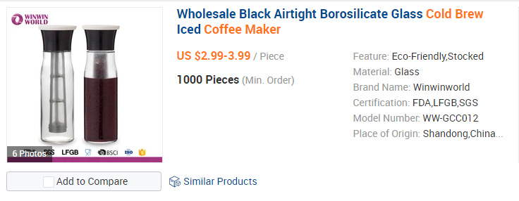 Cold Brew Coffee Maker on Alibaba