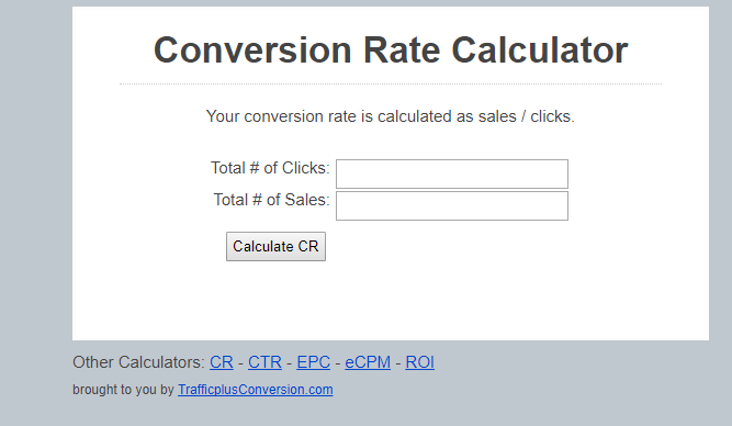 Conversion rate calculator, Trafficplusconversion.com