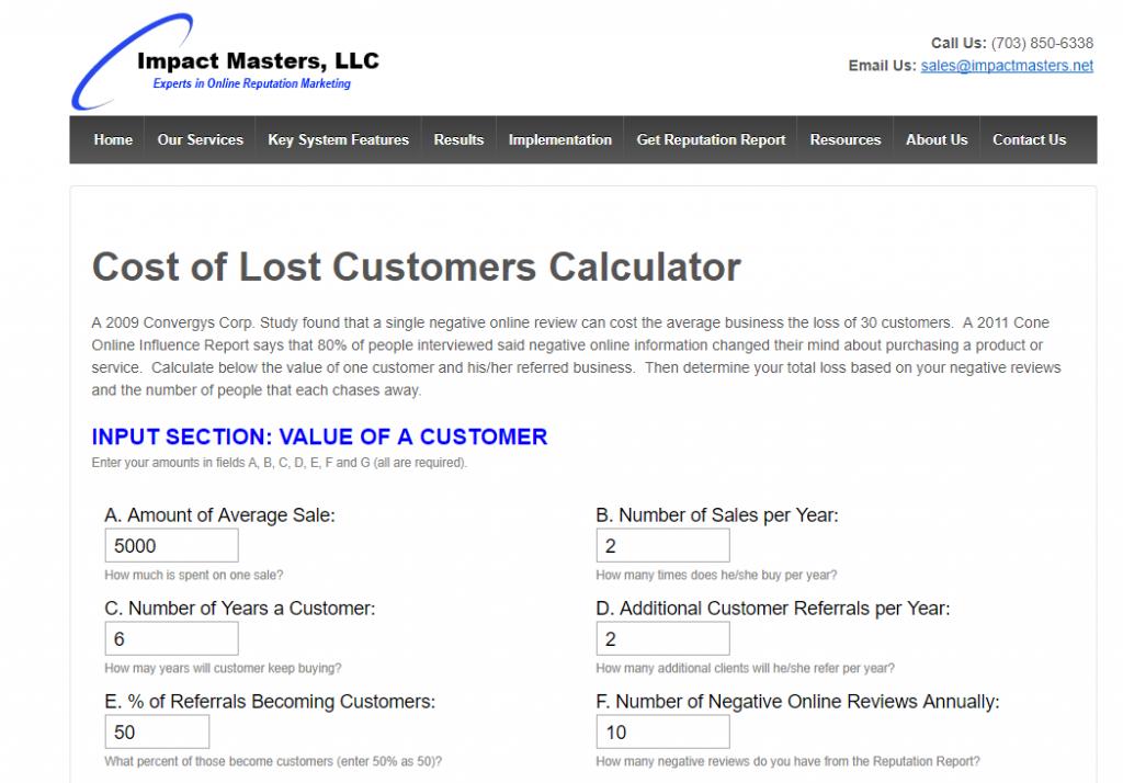 Coût de la calculatrice de clients perdus, Maîtres d'impact