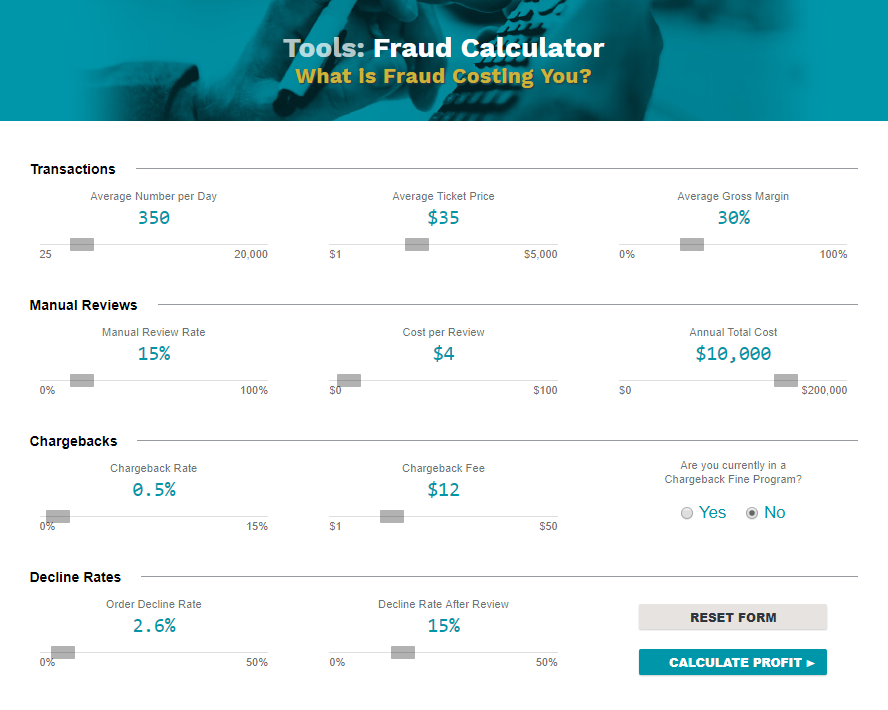 Credit card fraud cost calculator, Kount