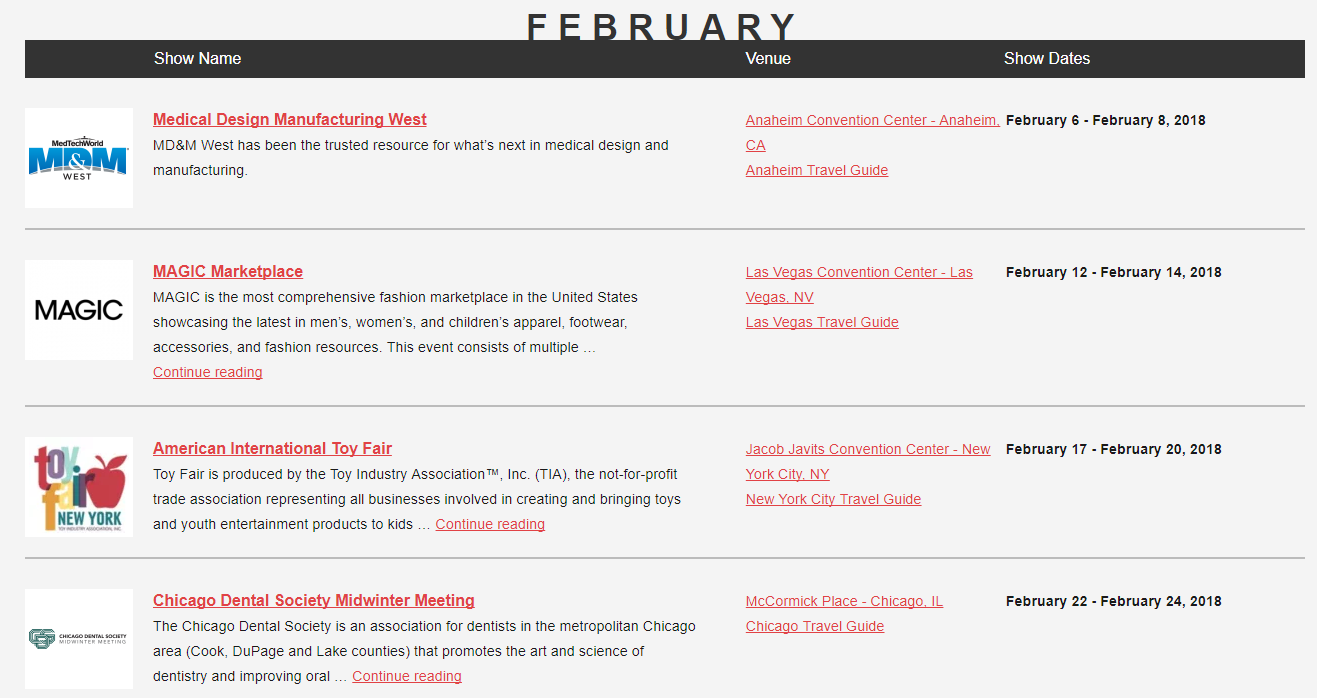 Verwenden Sie den Messekalender zeigt zu finden, die Ihre Branche abdecken