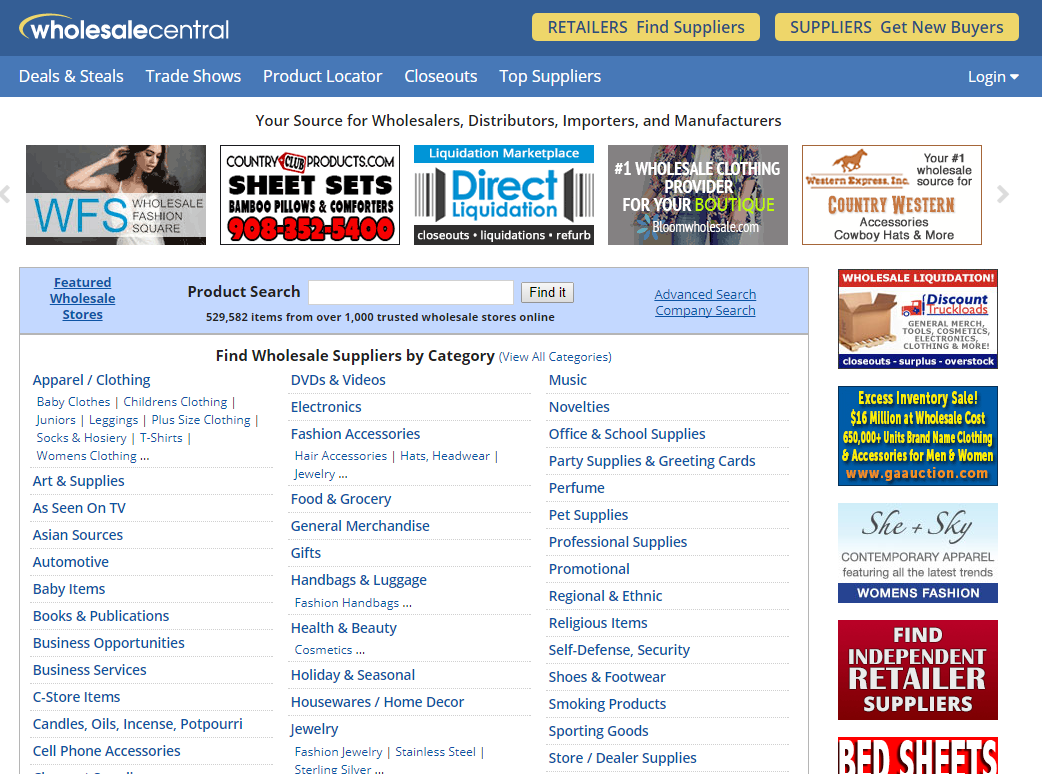 Search on WholesaleCentral to find wholesale distributors covering your product category