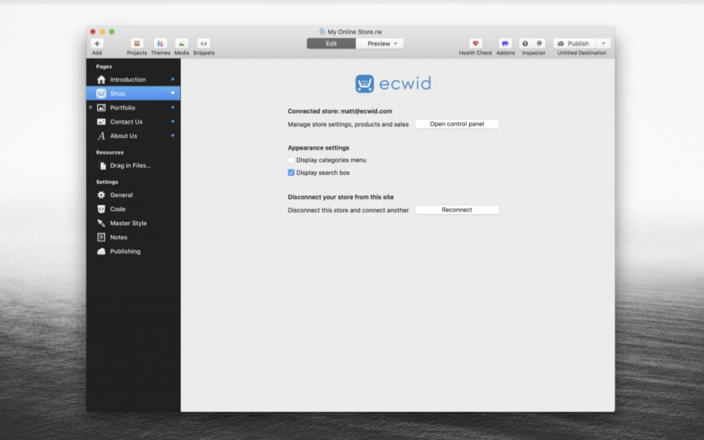 Installed Ecwid plugin for RapidWeaver