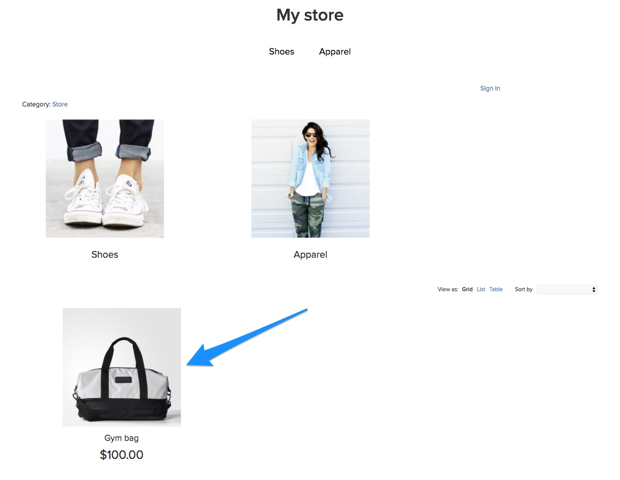Featured products on the homepage