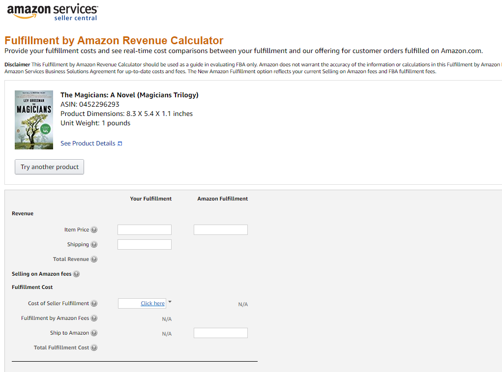 Fulfillment by Amazon Revenue calculator, Amazon