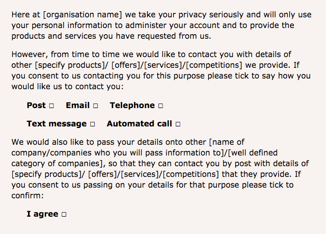 GDPR compliant checkbox