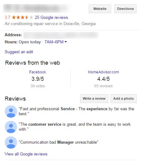 Google Mijn Bedrijf paneel met beoordelingen