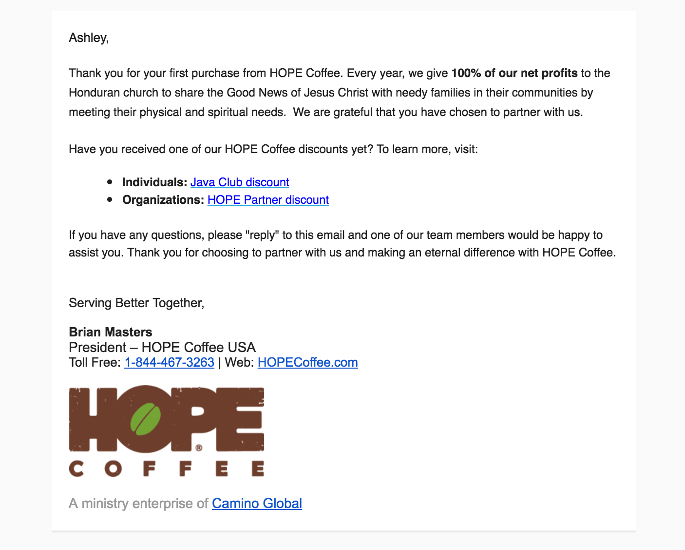 Hope Coffee email marketing