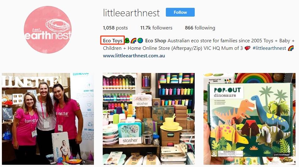 An informative Instagram username