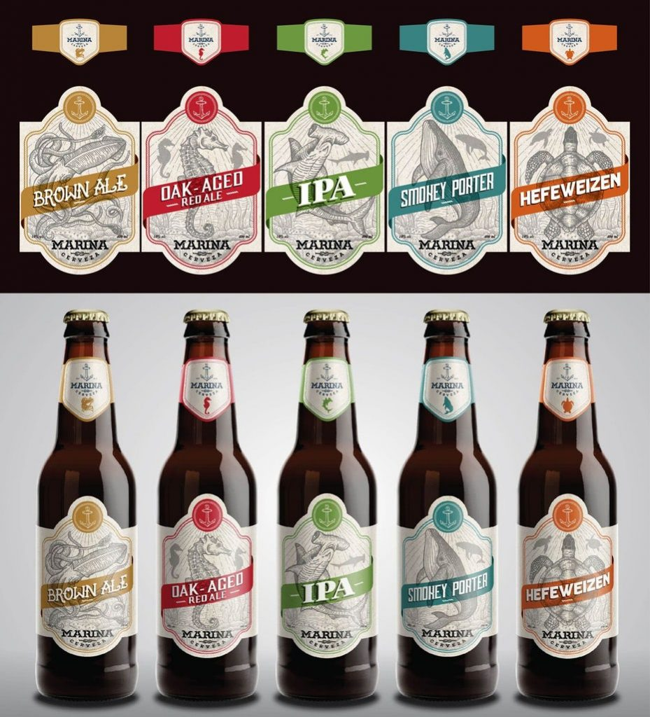 Marina's craft beer vintage packaging