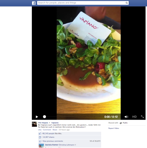 Facebook post with caterpillar in salad