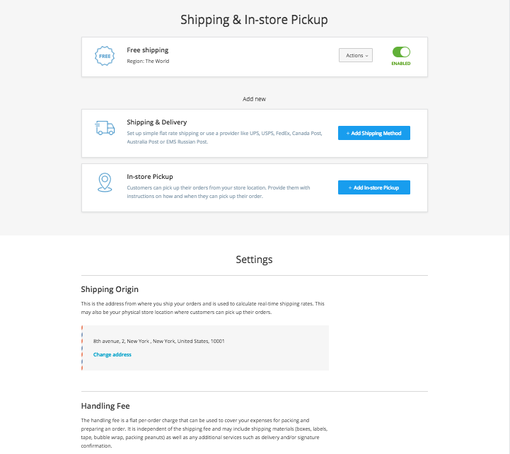 New shipping page in Ecwid