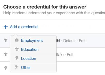 Quora credentials