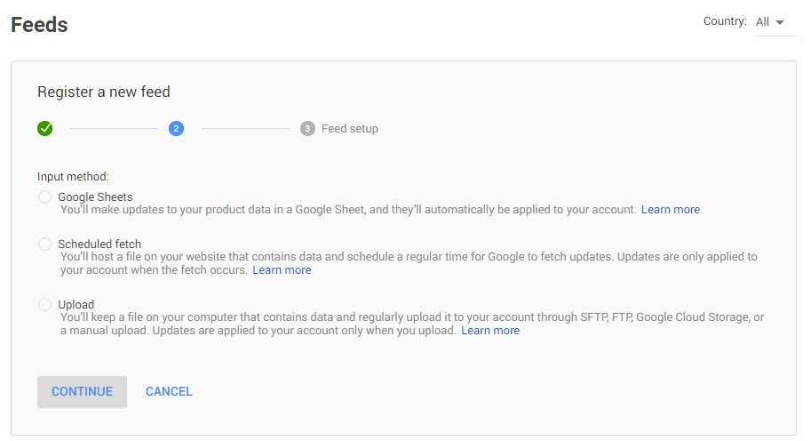 Register a feed on Google Shopping