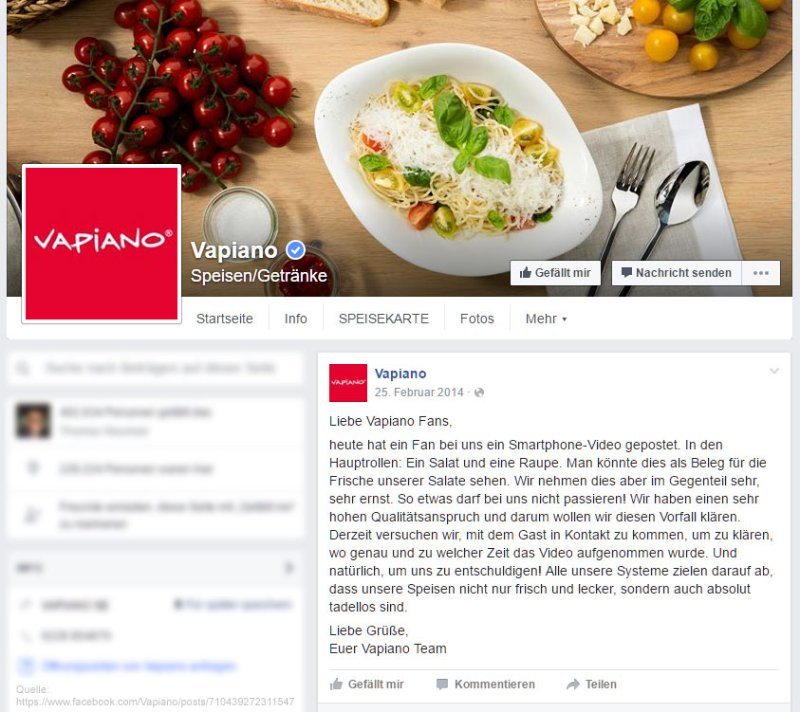 Response to the caterpillar issue on Vapiano's Facebook page
