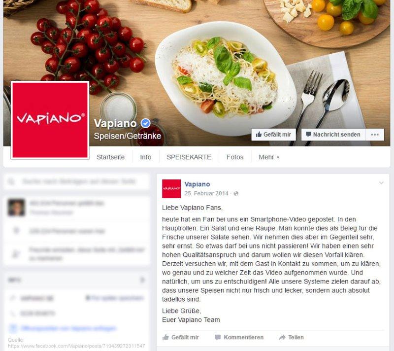 Reactie op de rups kwestie over Vapiano's Facebook-pagina