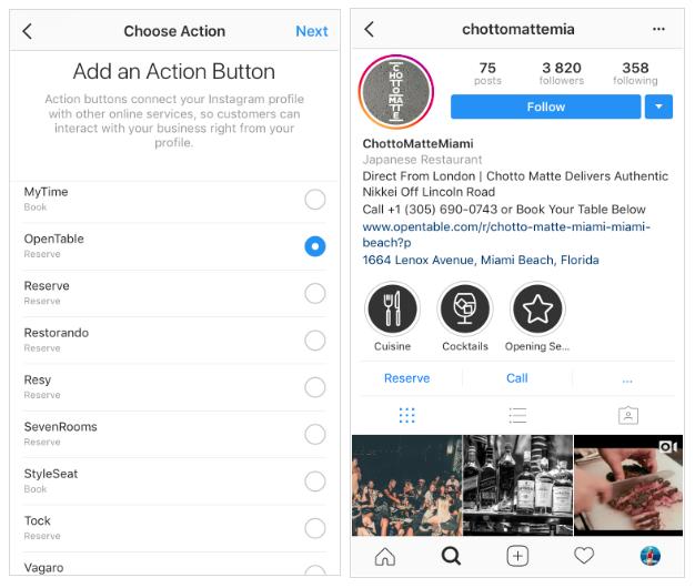 Instagram für Unternehmen: CTAs