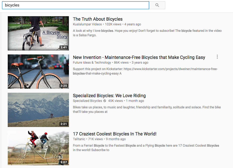 YuoTube videos about bicycles