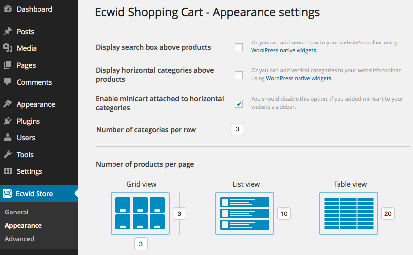 Appearance settings in Ecwid plugin for WordPress.org plugin