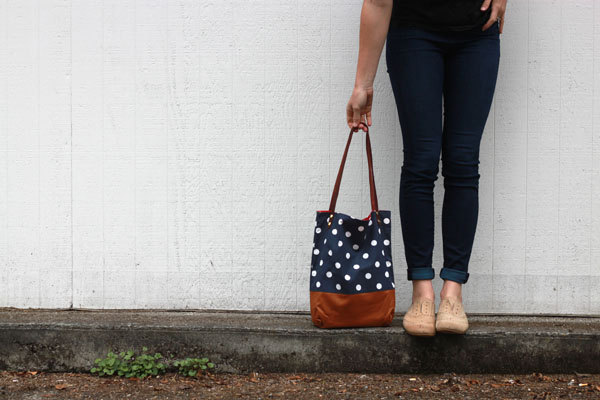 DIY polka dot tote bag