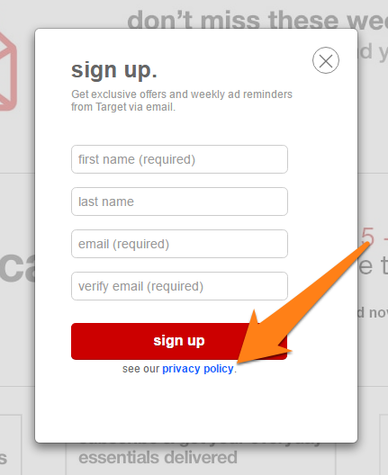 privacy policy in a sign up form