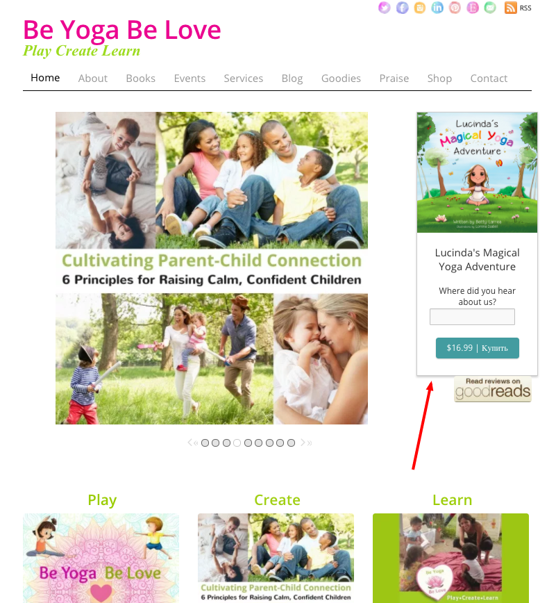 Товар с кнопкой «Купить» на главной странице сайта beyogabelove.com