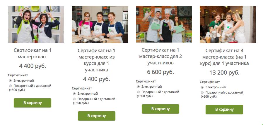 Сертификаты на кулинатрынй мастер-класс в интернет-магазине culinarystudio.ru