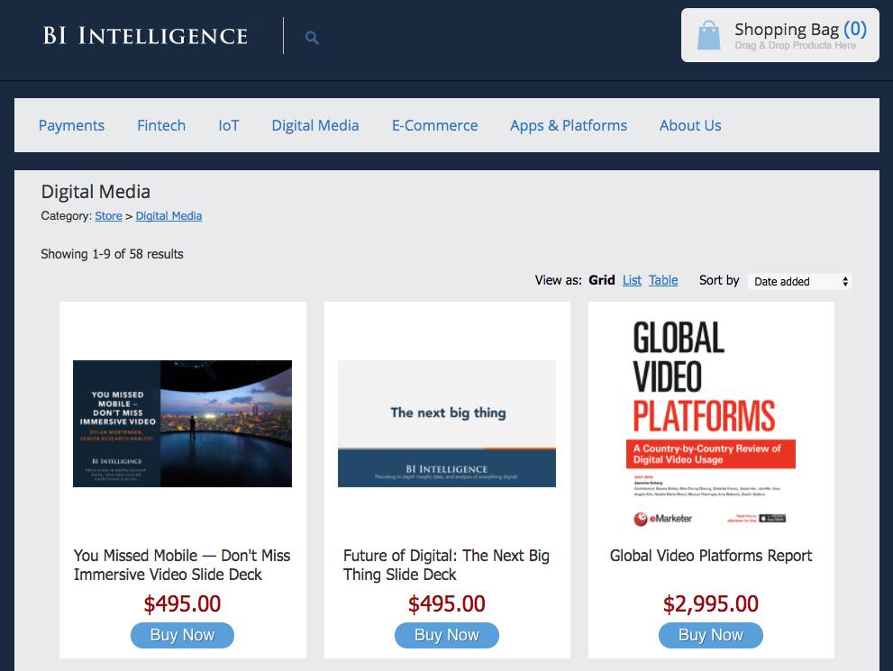 Бизнес-издание businessinsider.com продает книги и исследования в «обычном» и электронном формате