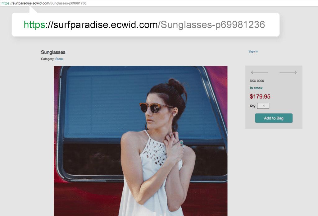 El aspecto de SEO URLs amigables en la tienda Ecwid